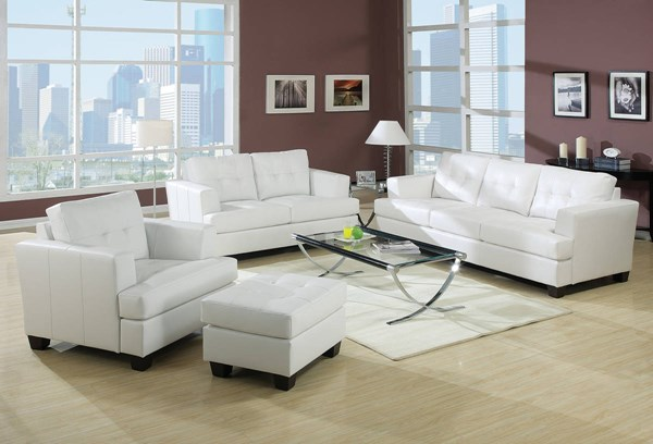 Platinum Contemporary White Bonded Leather Wood 3pc Living Room Set ACM-15095-S