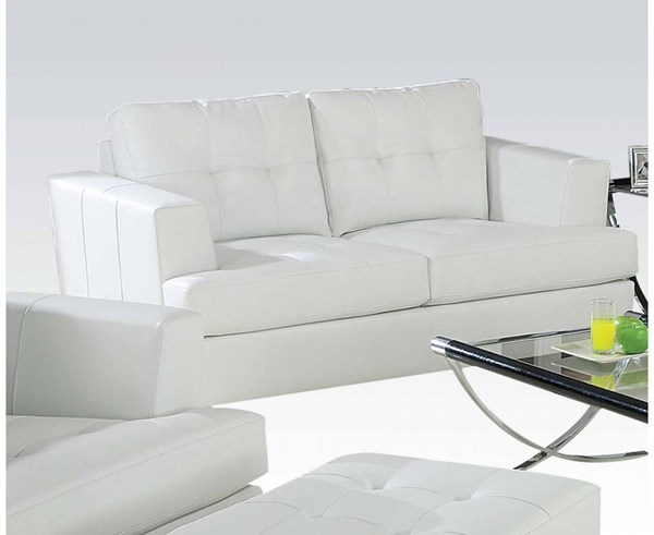 Platinum Contemporary White Bonded Leather Wood Loveseat ACM-15096B