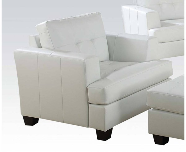 Platinum Contemporary White Bonded Leather Wood Chair ACM-15097B