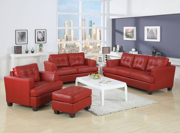 Platinum Contemporary Red Bonded Leather Wood 3pc Living Room Set ACM-15100-S