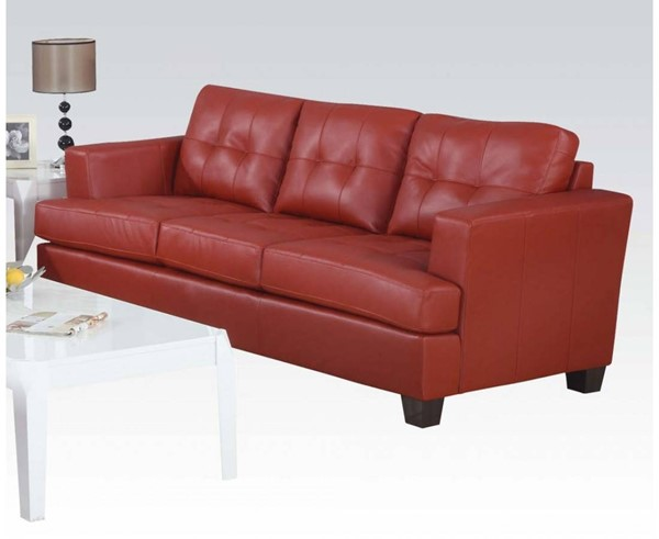 Platinum Contemporary Red Bonded Leather Wood Sofa ACM-15100