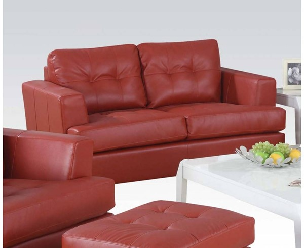 Platinum Contemporary Red Bonded Leather Wood Loveseat ACM-15101