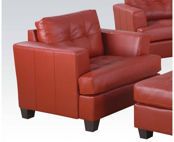 Platinum Contemporary Red Bonded Leather Wood Chair & Ottoman Sets ACM-1509-CHO-S4