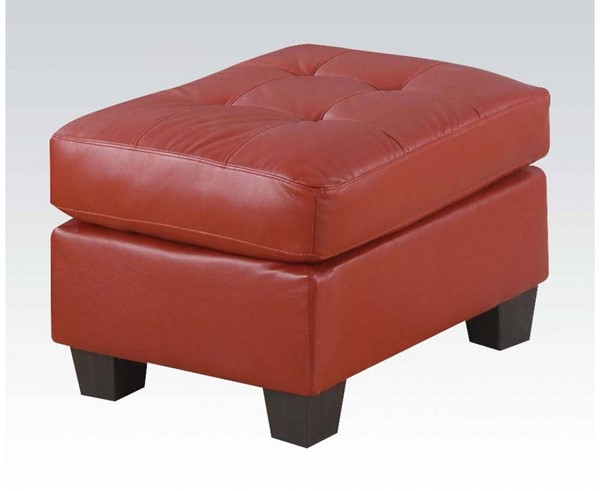 Platinum Contemporary Red Bonded Leather Wood Ottoman ACM-15103