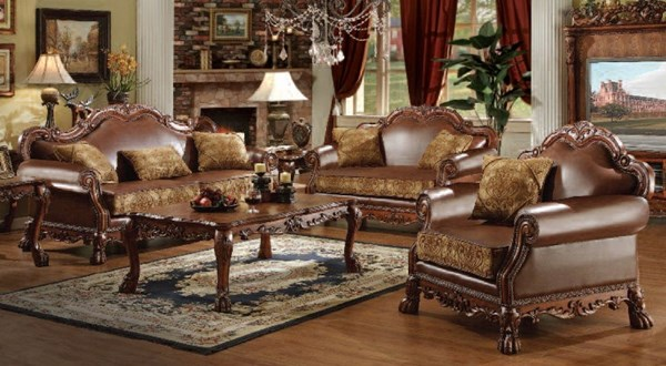Dresden Traditional Brown Cherry Oak Fabric PU Wood Living Room Set ACM-15160-Set