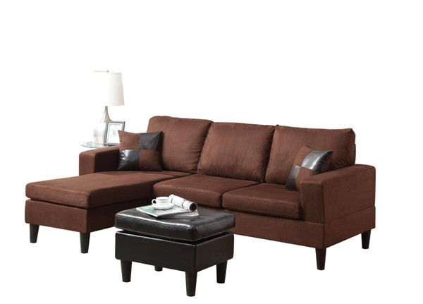 Acme Furniture Robyn Reversible Chaise Sectional and Ottoman with Pillows ACM-15900