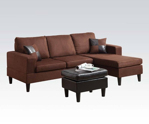Robyn Fabric PU Reversible Chaise Sectional & Ottoman W/2 Pillows ACM-15900