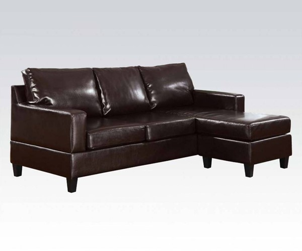 Vogue Casual Espresso PU Wood Plastic Reversible Chaise Sectional ACM-15913