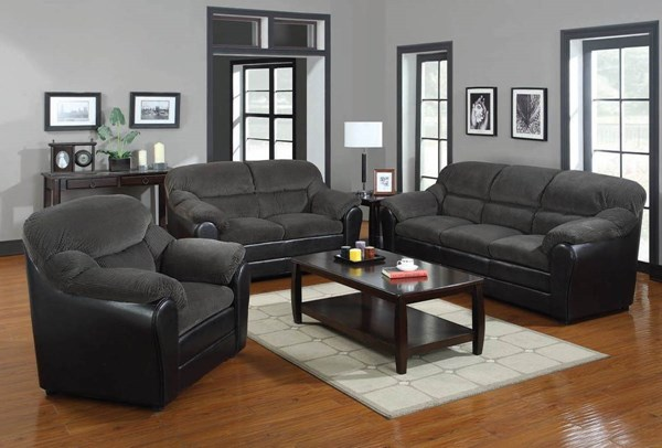 Connell Casual Olive Gray Espresso Fabric PU 3pc Living Room Set ACM-15955S