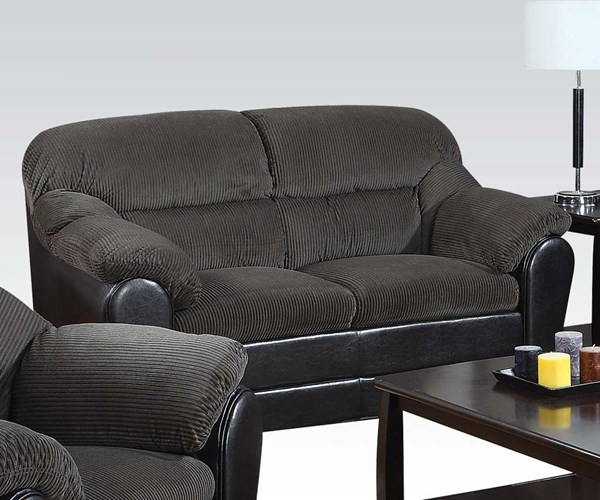 Connell Casual Olive Gray Espresso Fabric PU Loveseat ACM-15956