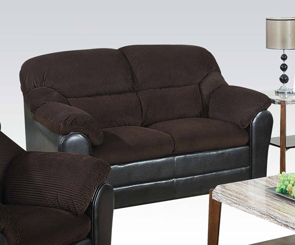 Connell Casual Chocolate Espresso Fabric PU Loveseat ACM-15976