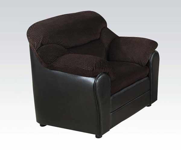 Connell Casual Chocolate Espresso Fabric PU Chair ACM-15977