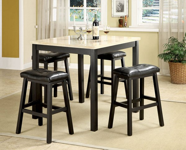 Portland White Black Wood 5pc Pack Square Backless Counter Height Set ACM-16046
