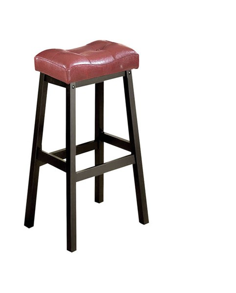 2 Portland Red PU Wood Armless Counter Height Stools W/Foot Rest ACM-16049