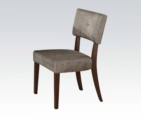 2 Drake Gray Espresso Fabric Wood Armless Solid Back Side Chairs ACM-16252
