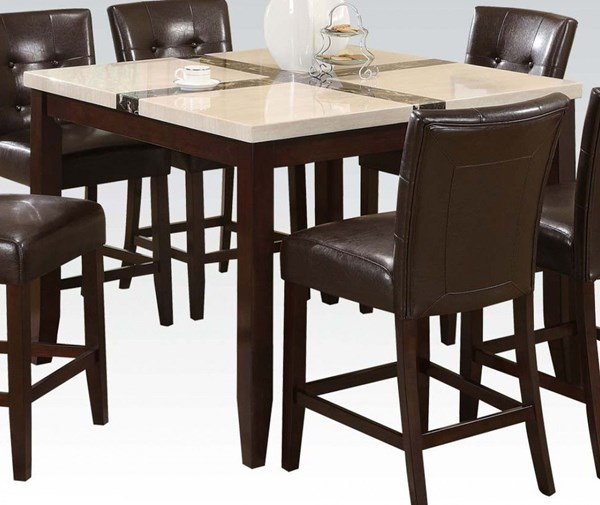 Justin Transitional White Walnut Faux Marble Wood Counter Height Table ACM-16555