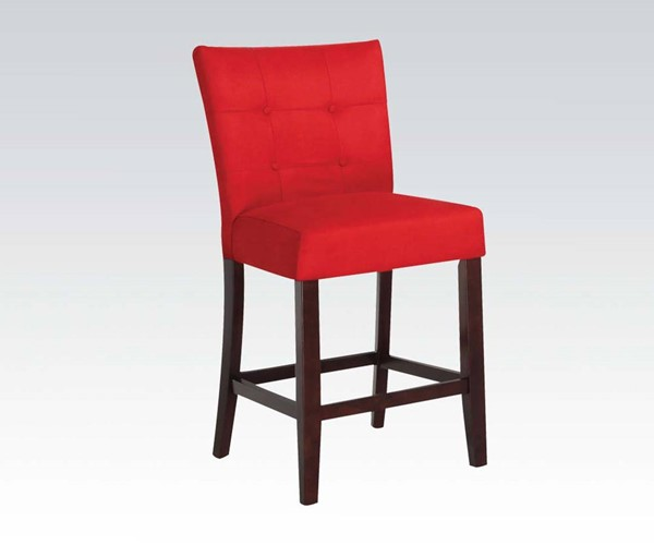 2 Baldwin Red Walnut Fabric Wood Tufted Counter Height Chairs ACM-16830