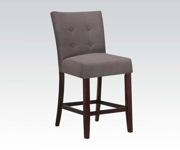 2 Baldwin Gray Walnut Fabric Wood Tufted Armless Counter Height Chairs ACM-16831