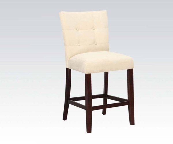 2 Baldwin Beige Walnut Fabric Wood Tufted Counter Height Chairs ACM-16832