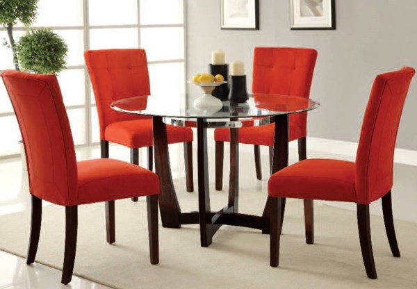 Baldwin Casual Red Fabric Wood Glass 5pc Dining Room Set ACM-16835-7815