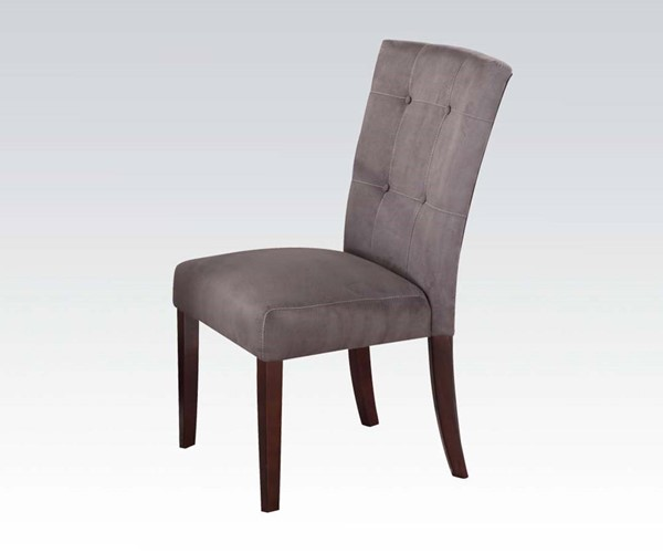2 Baldwin Casual Gray Walnut Fabric Wood Solid Back Side Chairs ACM-16836