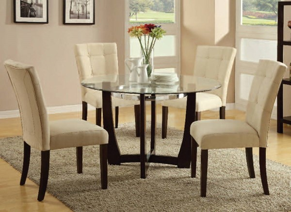 Baldwin Casual Beige Walnut Fabric Wood Glass 5pc Dining Room Set ACM-16837-7815