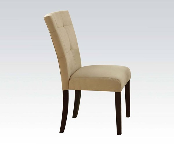 2 Baldwin Casual Beige Walnut Fabric Wood Solid Back Side Chairs ACM-16837