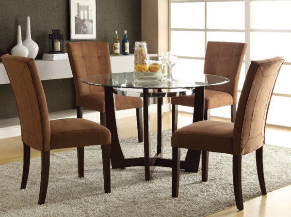 Baldwin Casual Chocolate Walnut Fabric Wood Glass 5pc Dining Room Set ACM-16838-7815