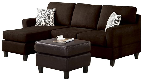 Acme Furniture Vogue Chocolate Reversible Chaise Sectional Sofa ACM-16907