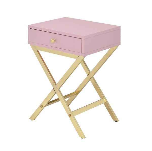 Acme Furniture Coleen Pink Gold Side Table ACM-82698