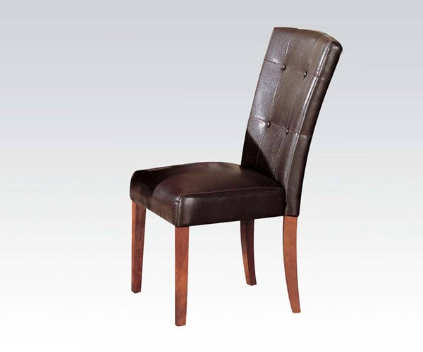 2 Bologna Transitional Espresso Brown Cherry PU Wood Side Chairs ACM-17046