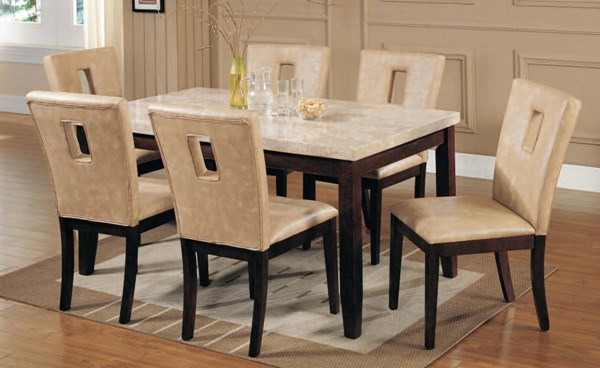 Britney Cream White Walnut PU Marble Wood 7pc Dining Room Set ACM-17058-16776-DR-S
