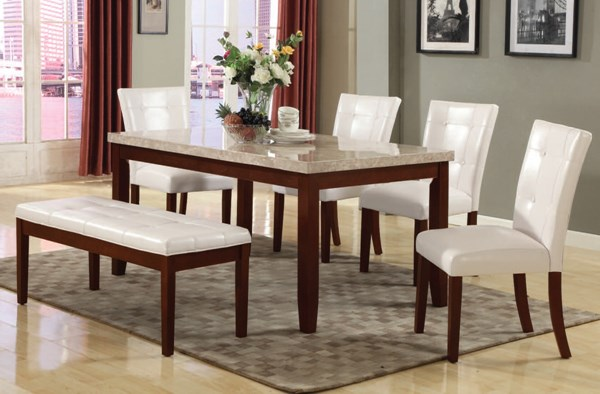Britney Transitional White Walnut Marble Wood PU Dining Room Set ACM-17058-77054-DR