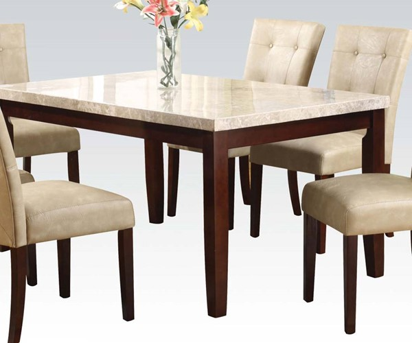 Britney White Walnut Marble Wood Rectangle Dining Table ACM-17058