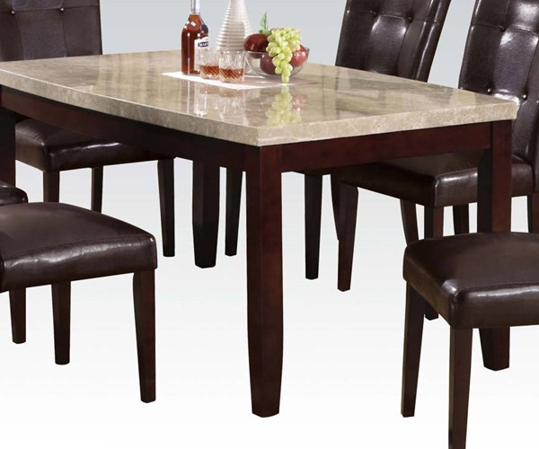 Britney Transitional White Walnut Marble Wood Rectangle Dining Table ACM-17060