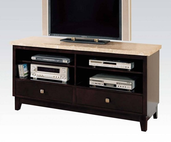 Britney Transitional White Walnut Marble Wood TV Stand ACM-17093