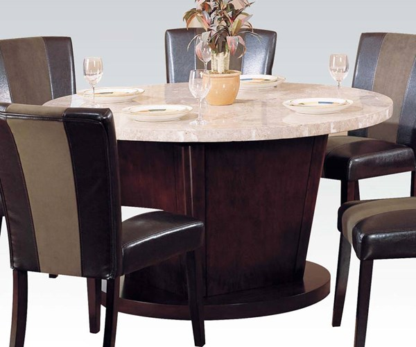 Britney Transitional White Walnut Marble Wood Round Dining Table ACM-17148
