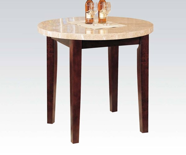 Britney Transitional White Walnut Marble Wood Counter Height Table ACM-17218