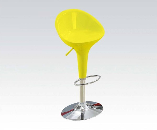 2 Sybill Yellow Chrome Acrylic Metal Adjustable Height Stools W/Swivel ACM-17702