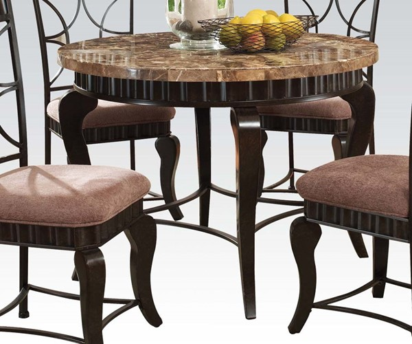 Galiana Transitional Brown Marble Black Metal Round Dining Table ACM-18285