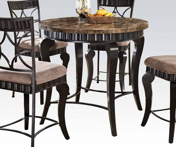 Galiana Transitional Brown Black Marble Metal Counter Height Table ACM-18290