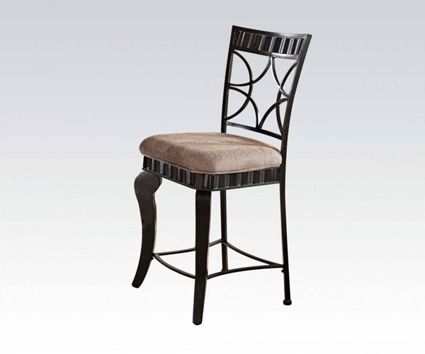 2 Galiana Transitional Brown Black Fabric Metal Counter Height Chairs ACM-18292