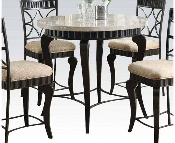 Lorencia White Black Gold Marble Metal Counter Height Table ACM-18294