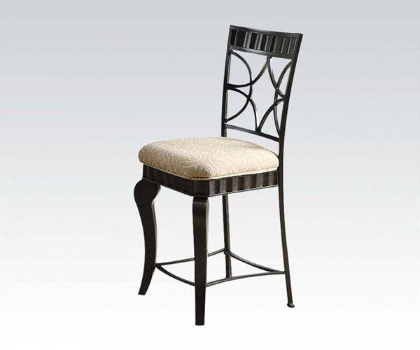 2 Lorencia Black Gold Metal Fabric Counter Height Chairs ACM-18296