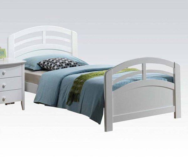 San Marino Transitional White Wood Twin Panel Bed ACM-19150T