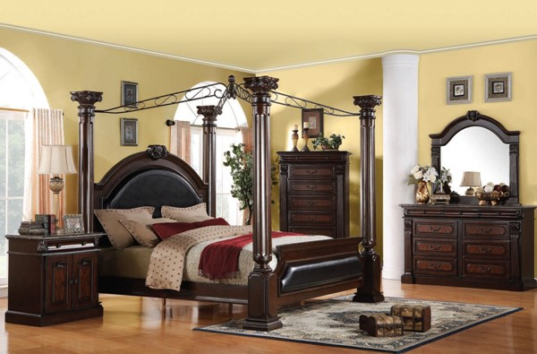 Roman Empire Traditional Dark Cherry Wood Master Bedroom Set ACM-19326-BD