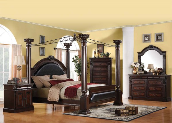 Roman Empire Traditional Dark Cherry Wood 5pc Bedroom Sets ACM-19326-BR-VAR