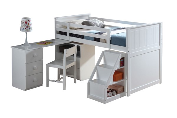 Acme Furniture Wyatt White Twin Loft Bed with Desk Ladder and Chest ACM-19405