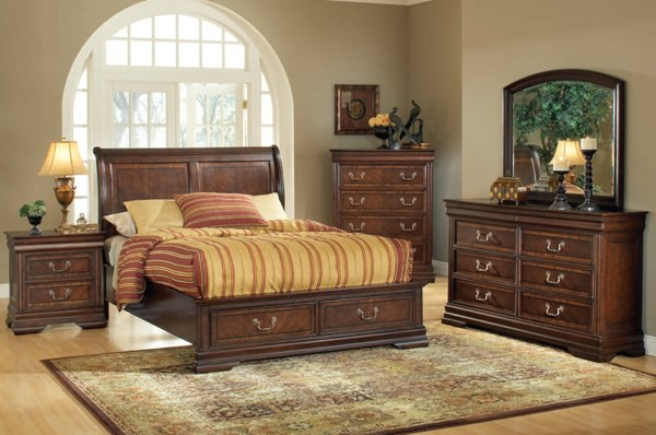Hennessy Brown Cherry Wood Sleigh 5pc Bedroom Sets ACM-19444-S