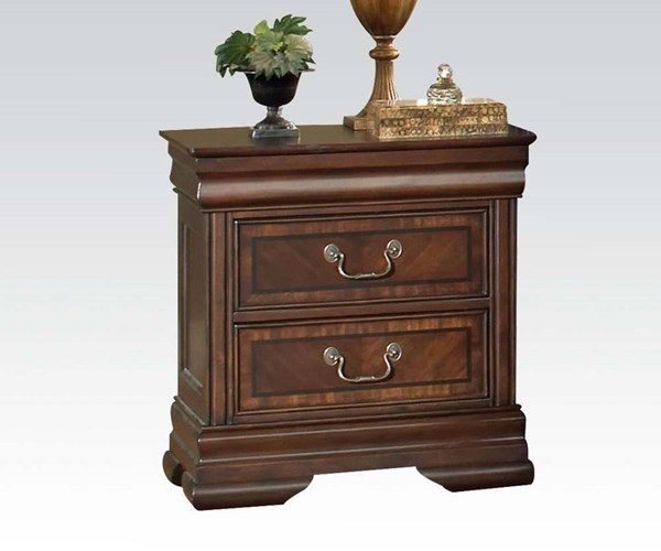Hennessy Brown Cherry Wood Drawers Nightstand W/Charging Dock & Light ACM-19458